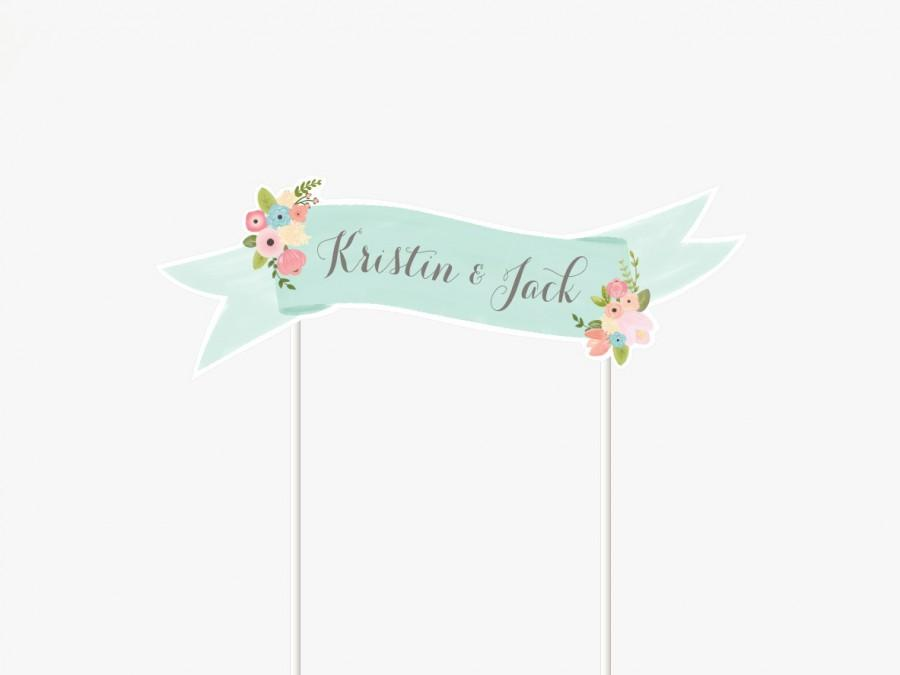 Mariage - Floral Cake Topper Printable Custom Wedding, Baby shower, Bridal shower, Birthday Mini Banner by Itsy Belle