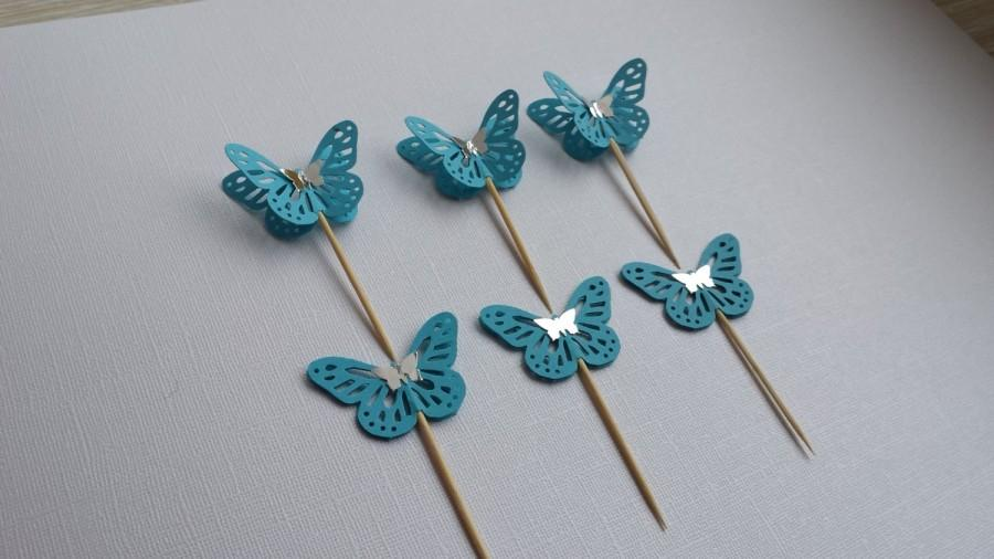 Свадьба - Blue Cupcake Toppers Butterfly , Wedding cupcake toppers, Party Picks, Food Picks, Sandwich Picks, Toothpicks
