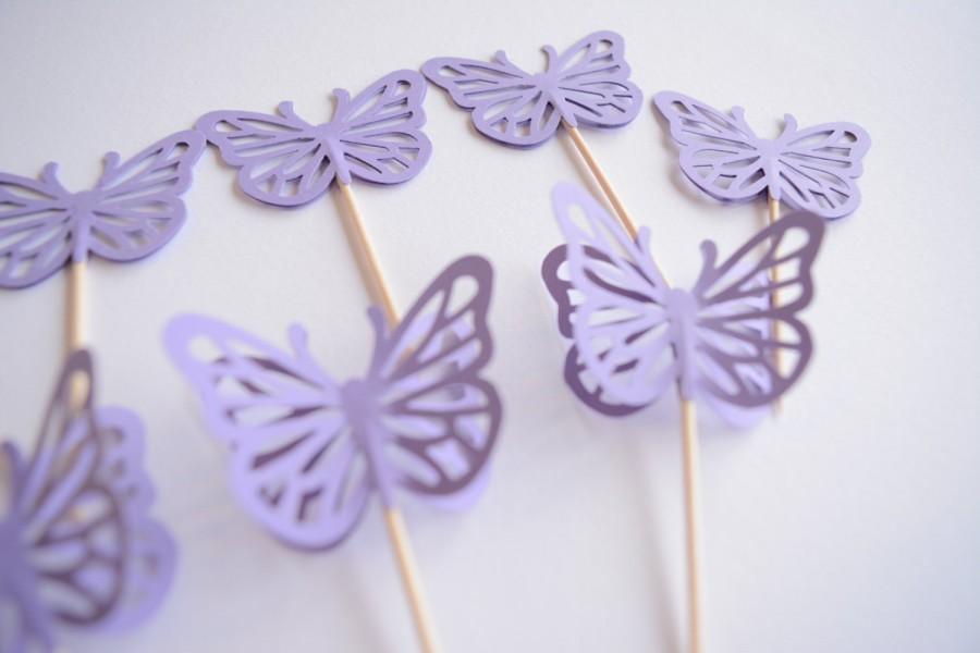 lavender cupcake toppers butterfly wedding cupcake toppers party