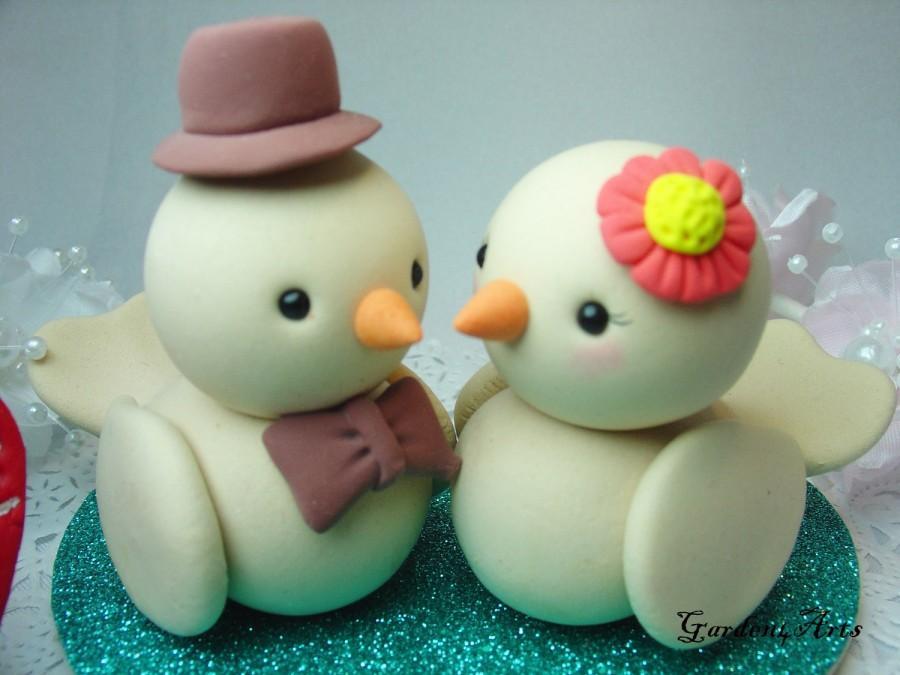 Wedding Cake Topper Custom Heart Tails Birds Love With Heart Base