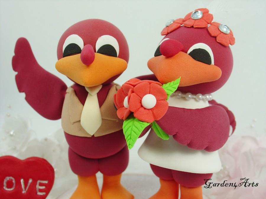 Wedding Cake Topper Custom Vt Hokies Bird Unique College Mascot