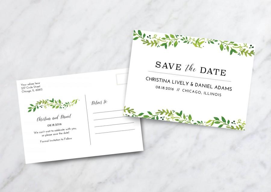 Save The Date Card Postcard / Floral Save The Date Postcard ...