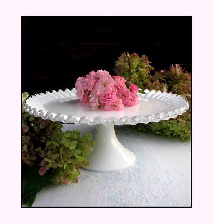 Wedding - Vintage Milk Glass Cake Stand/ Fenton Silvercrest / Wedding Cake Stand
