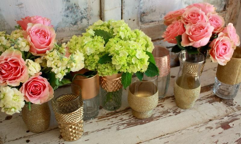 Gold dipped vases wedding decor quot custom
