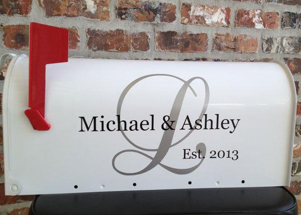 Wedding - Personalized Couples Name Initial Wedding Card Mailbox Decal