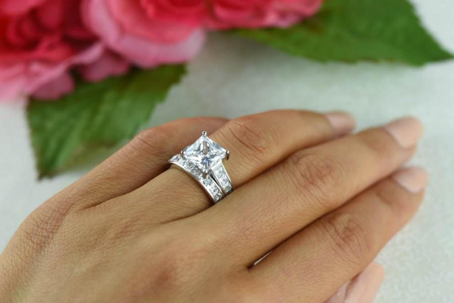 4 Ctw Princess Engagement Ring Channel Set Wedding Band Man Made Diamond Simulants Sterling Silver Square Bridal