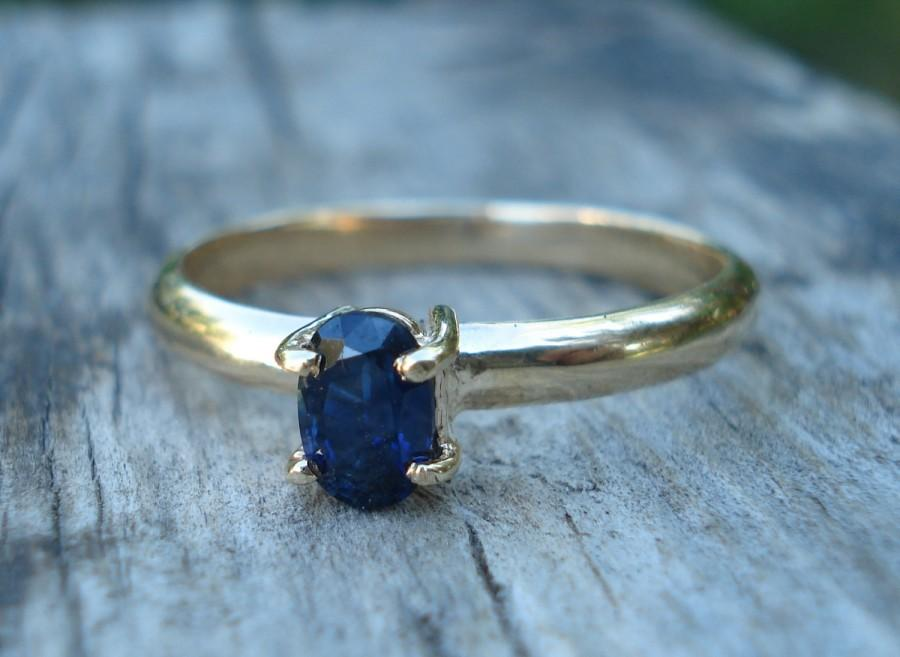 Свадьба - Australian blue sapphire engagement ring, dark blue natural sapphire, oval sapphire gold ring, solid yellow gold, conflict free gem, ethical
