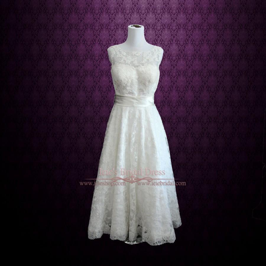 Retro boat neck lace tea length wedding dress 2506019 for Boat neck lace wedding dress