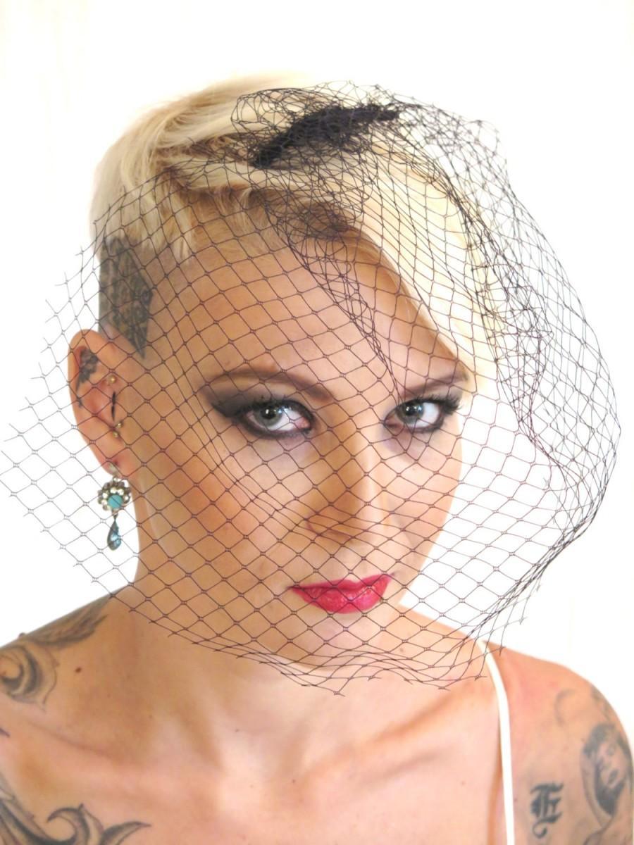 Mariage - Birdcage Veil , Black Wedding Birdcage Veil ,  Bridal Hair  Accessories , Steampunk  Wedding  , Black veil, By Talila ,UnconventionalBrides