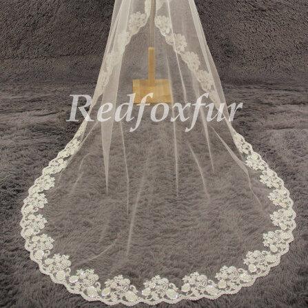 Wedding - 1T cathedral veil, Alencon lace wedding veil, ivory cathedral veil, wedding veil with crystals, lace wedding veil, wedding headpiece