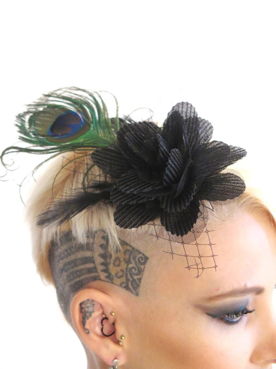 زفاف - Peacock feather fascinator with Black  tulle Flower , Steampunk wedding Hair Accessories , Black  Feather Fascinator ,  By Talila Korolker
