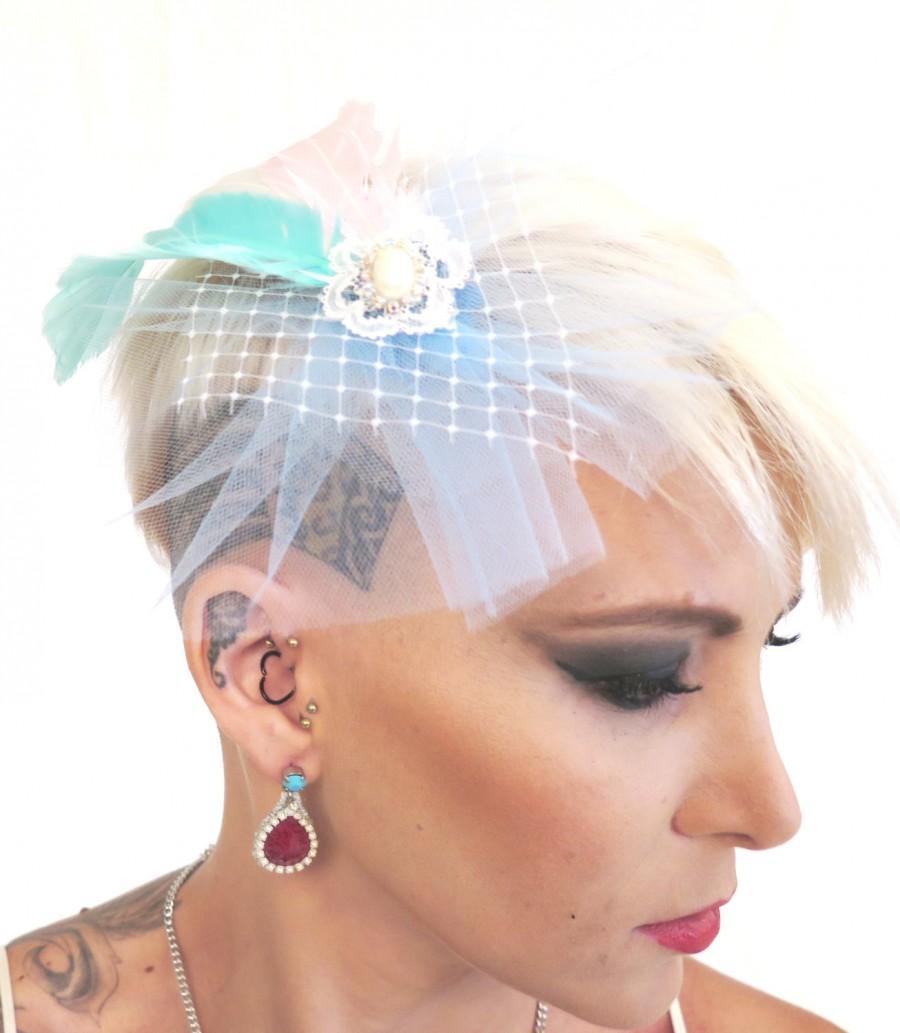 Wedding - Wedding Veil, Pink& Blue Net Feather Veil Fascinator, Bridal Headpiece , Modern Tulle  veil ,  Bridal fascinator  By Talila Korolker