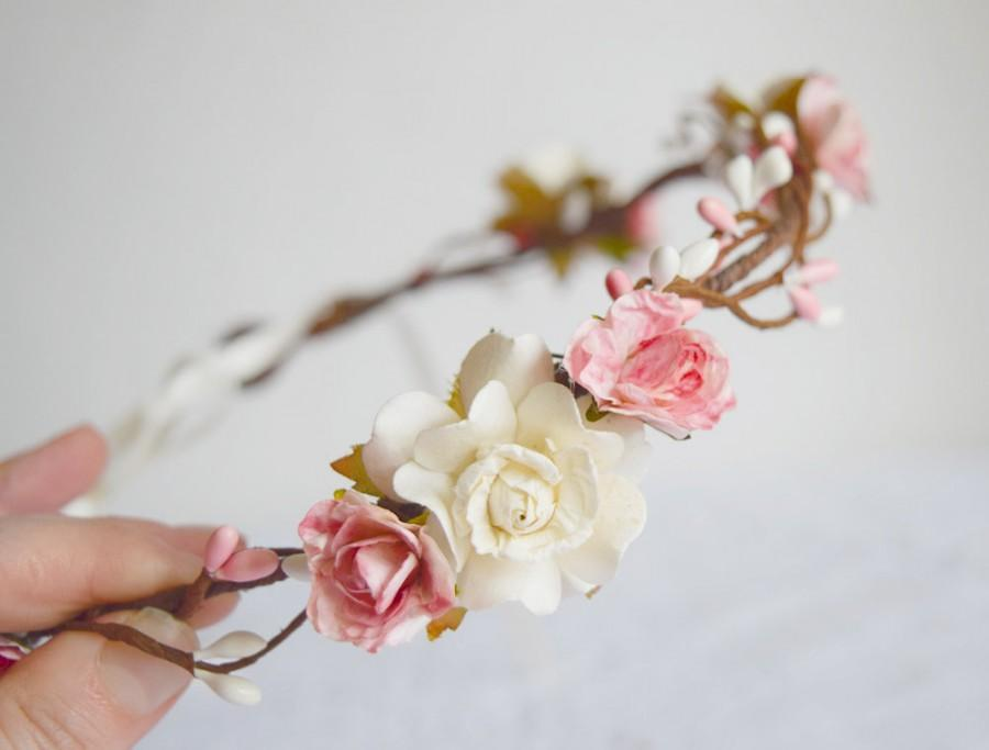 Wedding Hair Flowers Pink : Rose flower circlet bridal crown wedding hair