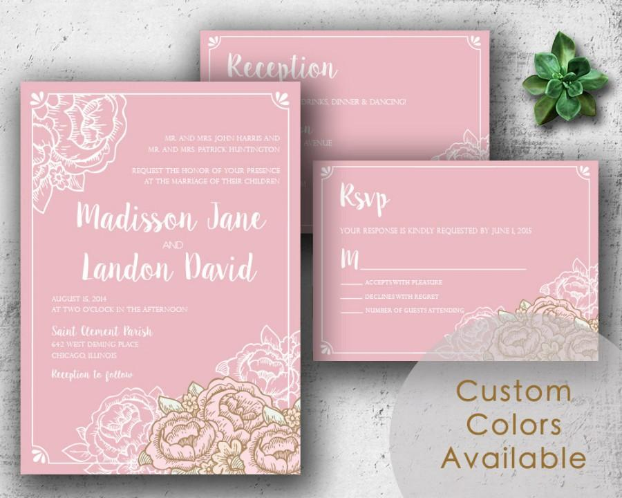 Hochzeit - Printable Wedding Invitations, Rustic Floral Wedding Invitations, Printable Rustic Wedding, Country Vintage Wedding (Your Choice in Colors!)