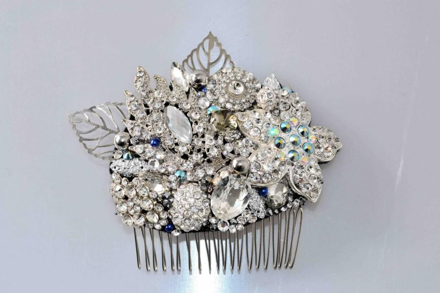 Wedding - Swarovski crystal Silver White & Blue Pearl Classic Vintage Gatsby Bridal Hair Comb Piece Slide fascinator - My Something Blue!