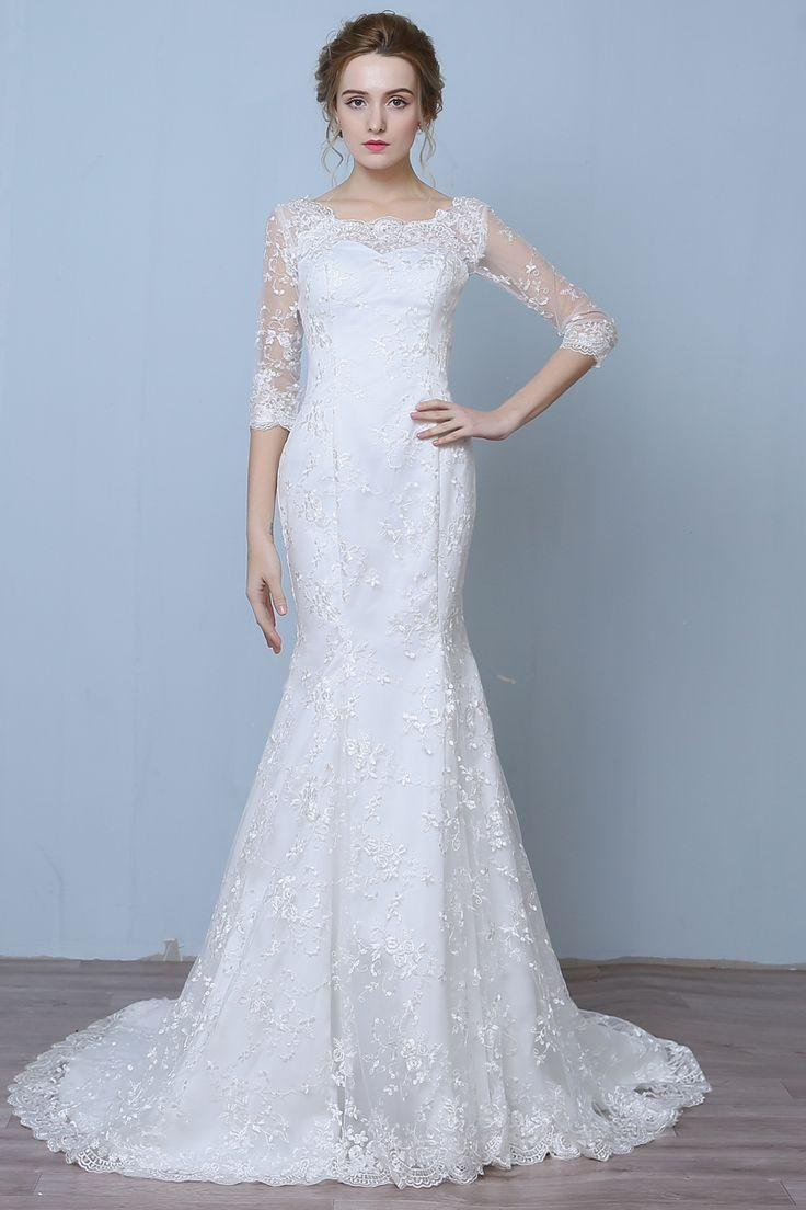 Elegant Three Quarter Sleeve Floor Length Train Lace Mermaid Wedding Dress