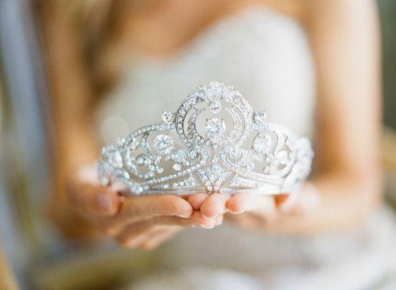 Hochzeit - Bridal Tiara Art Deco Tiara - CASSANDRE Deco Glam Swarovski Bridal Tiara, Wedding Crown, Rhinestone Tiara, Wedding Tiara, Diamante Crown