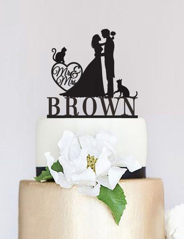 Wedding Cake Topper Mr And Mrs With Last Name Custom Cat Pet Bride Groom C073