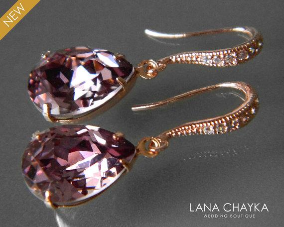Antique Pink Rose Gold Crystal Earrings Swarovski Rhinestone Wedding Purple Bridesmaids Jewelry