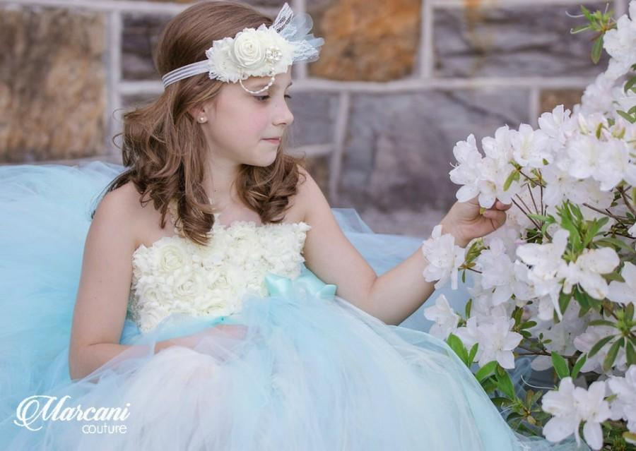 Wedding - Ivory Flower Girl Dress, Flower Girl Dress Baby Blue,Tutu Flower Girl Dress,Vintage Tutu Dress,Vintage Flower Girl Dress,Tulle,Tutu Dress