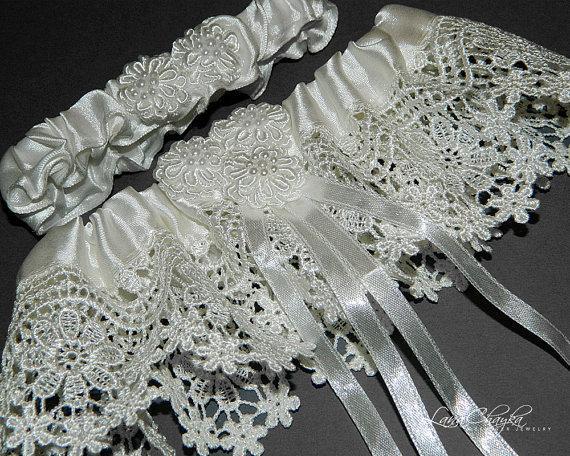 Hochzeit - Wedding Bridal Garter Set, Ivory Garter Set, Lace Garter, Bridal Garter Set, Ivory Lace Garter Set, Venice Lace Bridal Garter