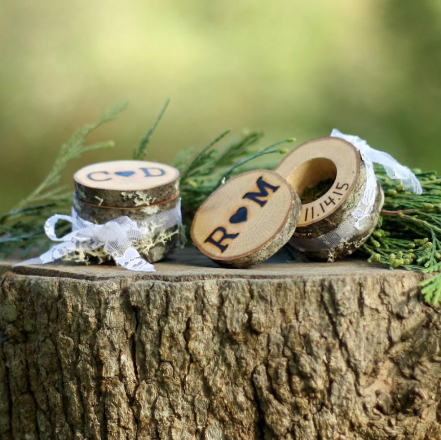 10th Wedding Anniversary Ring Ideas : Ring Bearer Box Alternative Log Ring Box 5th Anniversary For Her 10th ...