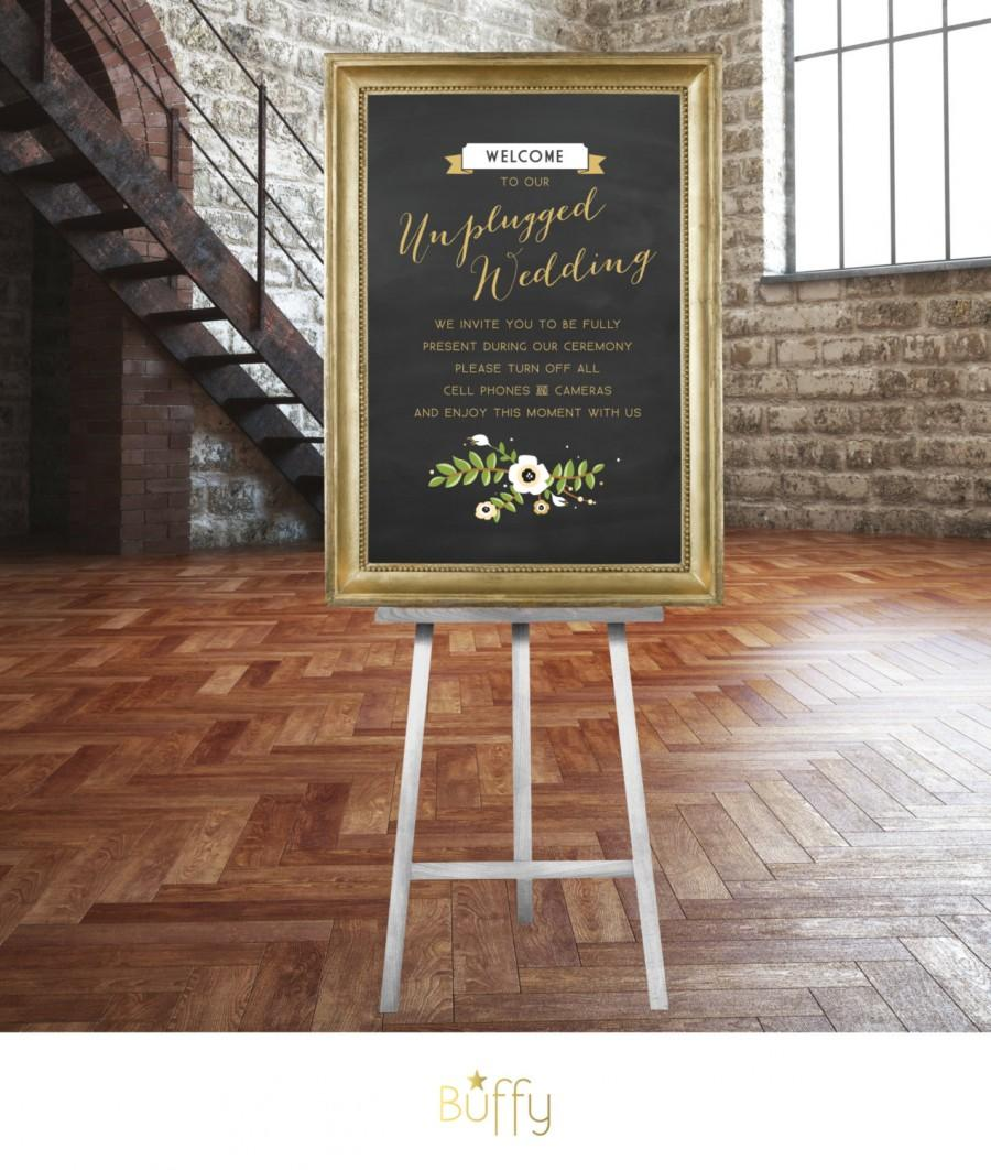 Hochzeit - The FRANCES . Unplugged Wedding Sign .  Gold & Chalkboard Calligraphy No iPhone Cameras Vintage Floral Rustic .  Wedding Custom  Poster  PDF