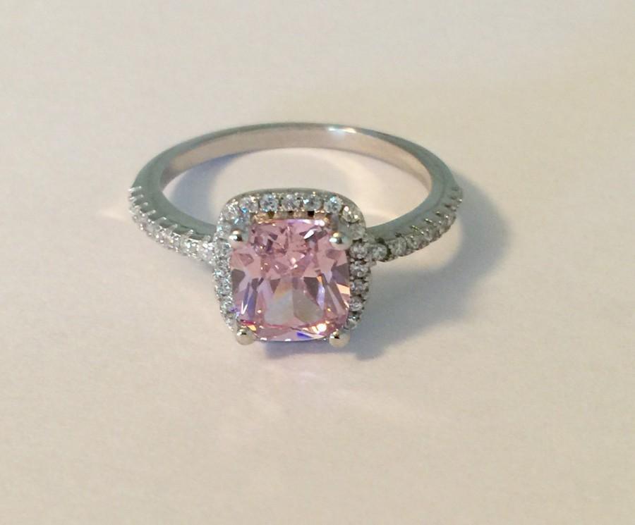 زفاف - 3.00 carat cushion cut pink CZ halo engagement ring