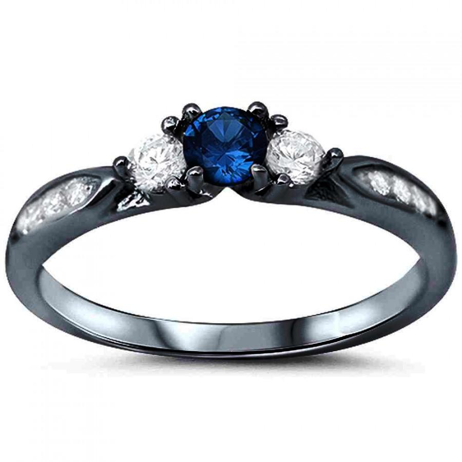 black gold three stone wedding engagement ring 13ct round deep blue sapphire cz white cz accent 925 sterling silver accent dazzling promise - Black And Blue Wedding Rings