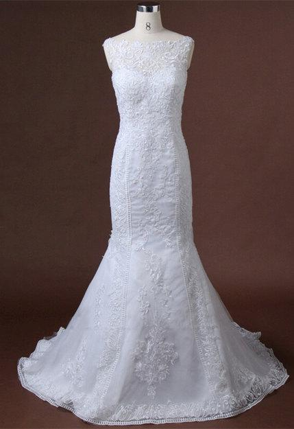Hochzeit - Lace Applique Mermaid Wedding Dress Open Lace Back