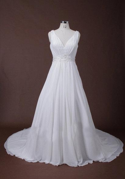 Hochzeit - Simple V Neck A Line Wedding Dress With Tulle Lace Back with Vintage Covered Buttons, Train
