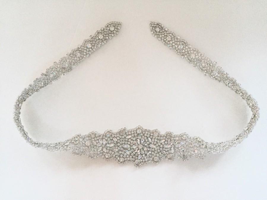 Wedding - Crystal Rhinestone Belt with Clasp- Bridal Belt - Bridal Sash - Embellished Belt - All The Way Around Bridal Belt with Clasp - EYM B006-M