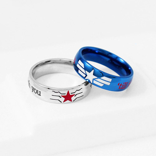 Mariage - STUCKY Ring Winter Soldier Captain America Stainless Steel, Stucky Ring, Geek Engagement Ring, Couple Ring, Geekery Jewelry, Geek Ring