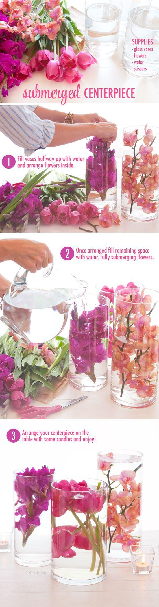 Свадьба - Submerged Flower Centerpiece - The Chic Site