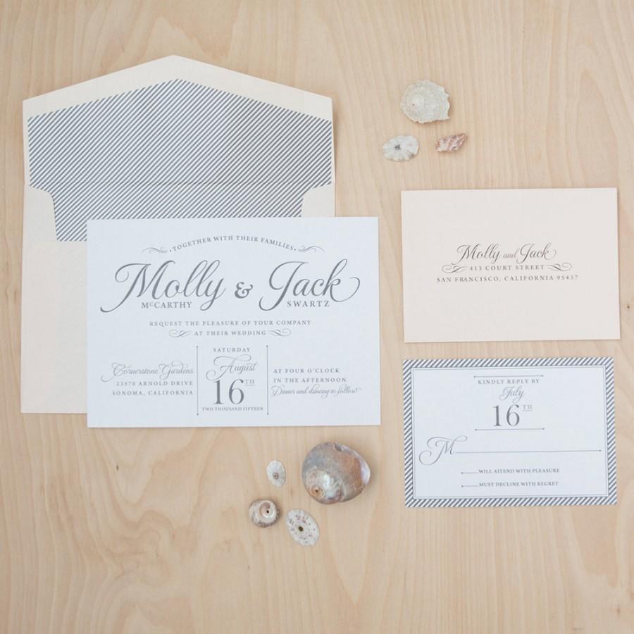 Свадьба - Beach Wedding Invitation - Carefree Elegance Invitation