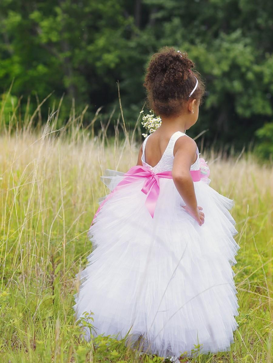 Hochzeit - Tulle Flower Girl Dress - Flowergirl Dress - Pagaent Dress - White Flower Girl Dress - Custom Colors Available - Sizes 2T to 8 Years