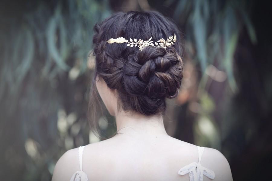 Wedding - Mini Floral Crown, Delicate Gold Flower Tiara, Bridal Hair Accessories, Wedding Crown, Goddess Hair Piece, Dainty Floral Wreath, Flower Girl