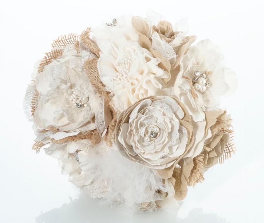 Свадьба - Burlap Bouquet / Bride bouquet / Burlap / Bridal Bouquet / Bridesmaid Bouquet / Keepsake Bouquet / Rustic Bouquet