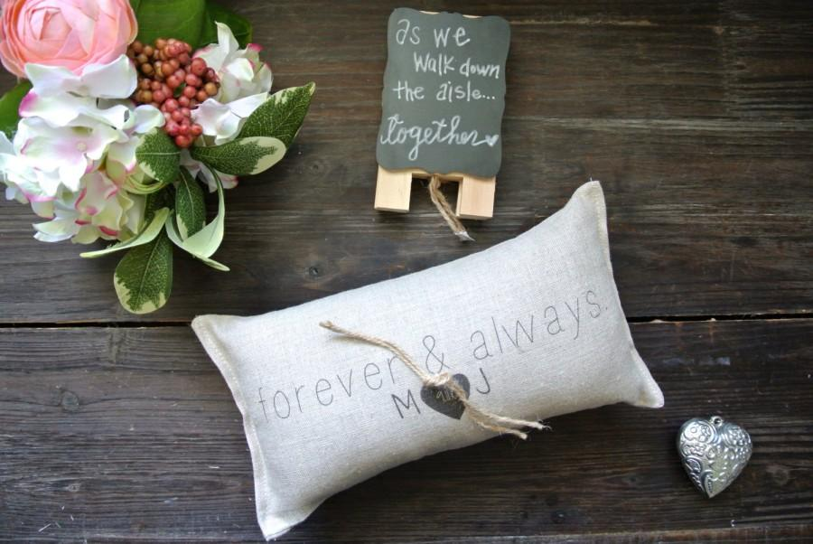 Wedding - Personalized Ring Bearer Pillow, Personalized Wedding Ring Pillow, Custom Ring Bearer Pillow, Rustic Wedding Ring Pillow, Linen Ring Pillow