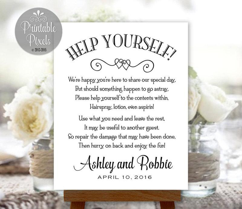 Bathroom basket sign printable wedding restroom toiletries for Bathroom basket ideas for wedding
