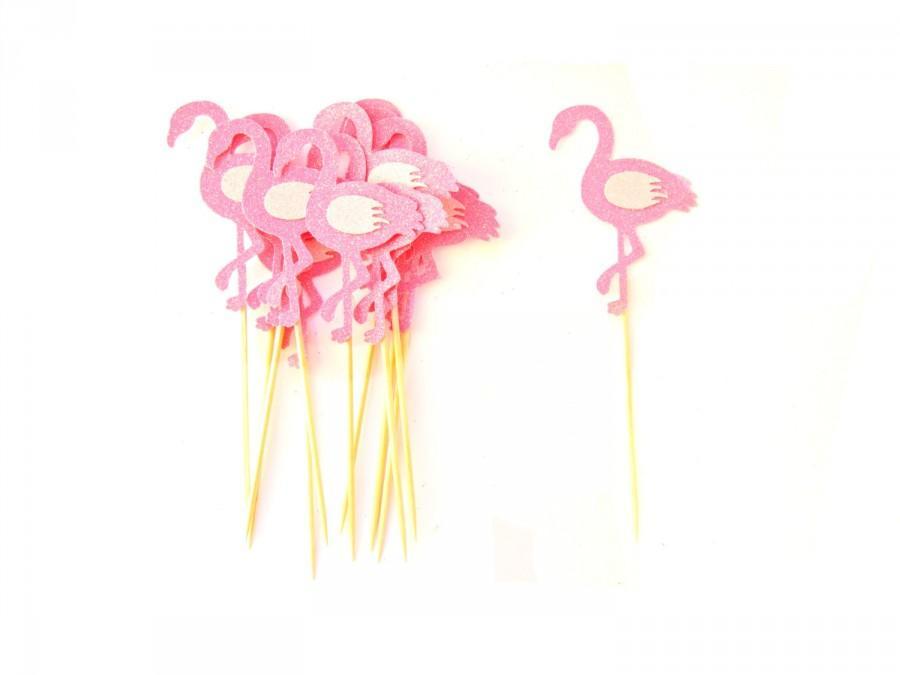 Hochzeit - 12 Pink Glitter Flamingo Cupcake Toppers - Summer Cupcake Toppers, Summer Birthday, Tropical Party, Flamingo Party Decor
