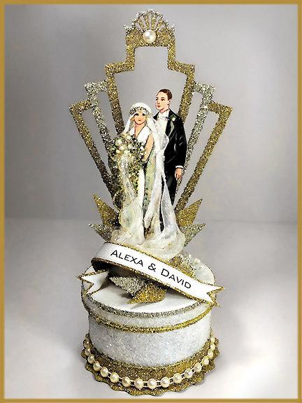 "Свадьба - 1920's ""Art Deco"" Great Gatsby Wedding Cake Topper, Keepsake Box"