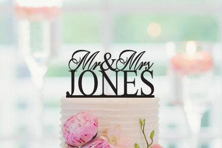 Mariage - Wedding Cake Topper, Mr and  Mrs Cake Topper, Personalized Name Cake Topper, Custom Cake Topper, Cake Topper Wedding