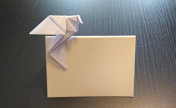 Свадьба - Wedding placecard, blank wedding place card, place card for wedding,wedding table decoration, Place card with dove, origami dove for wedding