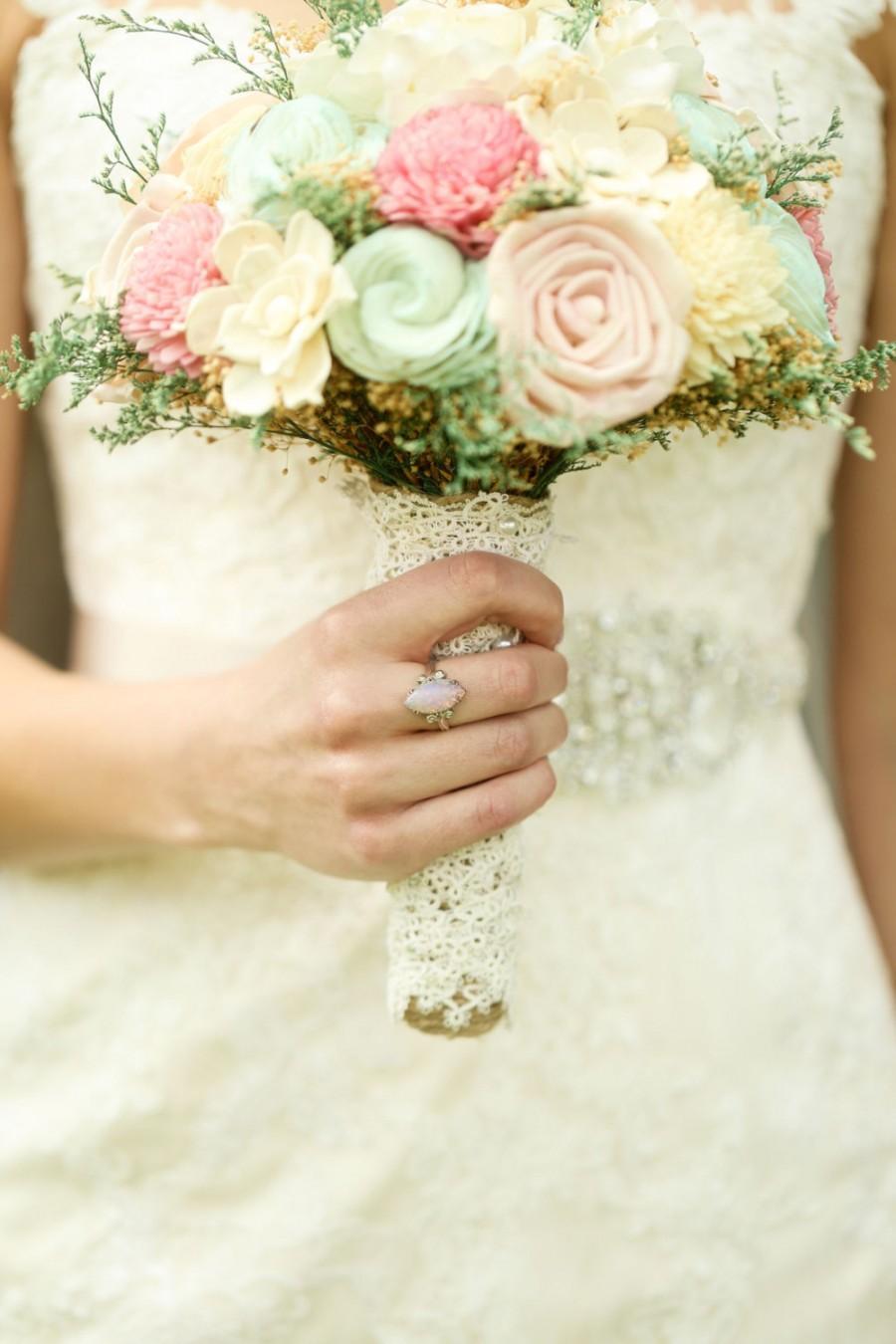 Свадьба - Romantic Wedding Bouquet -Pink and Mint Collection, Large Keepsake Alternative Bouquet, Sola Bouquet, Rustic Wedding