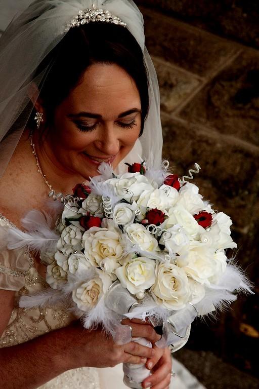 A Christmas Bride.Winter Bridal Bouquet Red White Silk Wedding Flowers