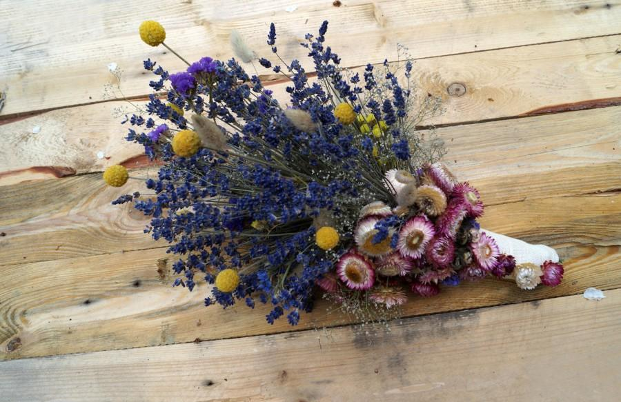 Wedding Dried Flowers, Lavender Bouquet, Wild Flowers Bouquet ...