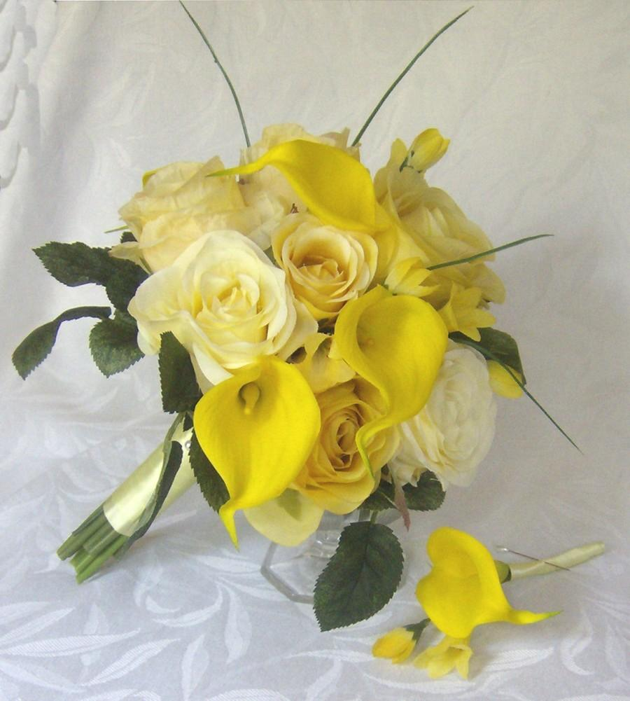 Wedding Flowers Roses And Lilies : Yellow rose wedding calla lily bouquet real touch