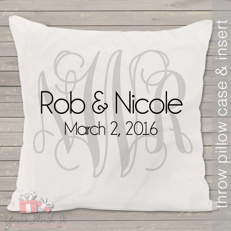 Mariage - Monogram wedding pillow - THROW pillow size 14 x 14- perfect wedding gift for the newlyweds