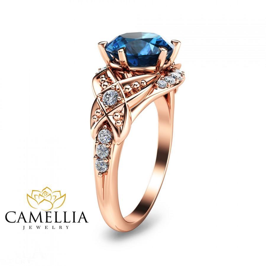 Hochzeit - Rose Gold Engagement Ring-14K Rose Gold London Blue Topaz Engagemnt Ring-8mm London Blue Topaz Ring